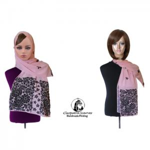 Scarf for head and neck- handmade  printing-pink - black decoration - cleopatra