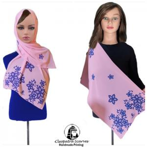 Scarf for head and neck-handmade printing  - pink - blueprint - cleopatra
