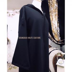 En crêpe noir jellaba -  soundouss haute couture