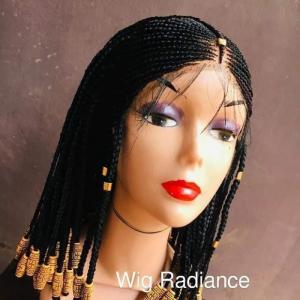 Fulani cornrow braided wig with african beads   - shee fashion'z house