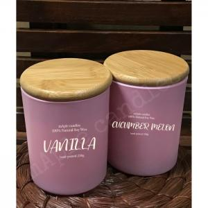 Maple candles in pink jar set - maple candles
