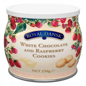 Royal dansk white chocolate and raspberry cookies